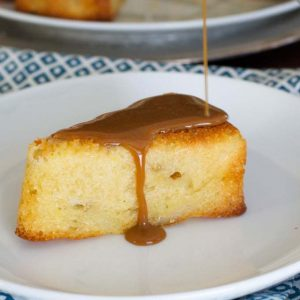 Pear Cake with Caramel Sauce