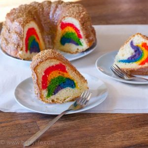 Pot of Gold Rainbow Bundt Cake