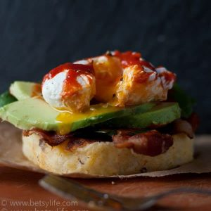 Cheesy Potato Pancake Eggs Benedict
