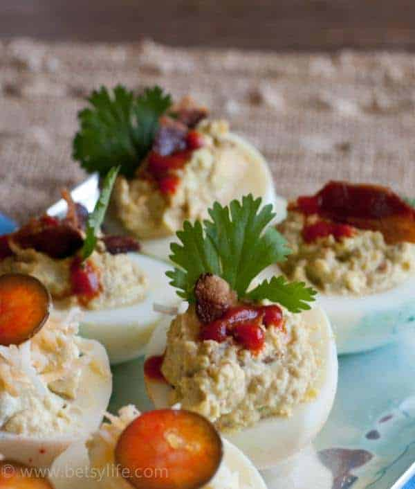 Bacon, avocado and Sriracha Deviled Eggs