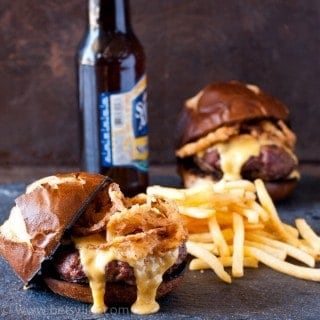Beer Cheese Burgers with Crispy Onions
