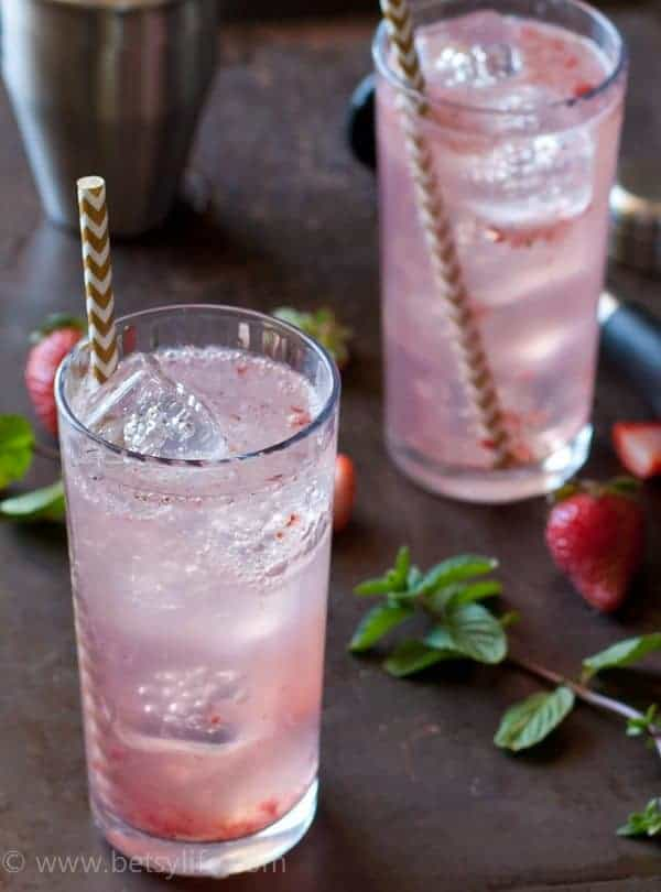 Sparkling Strawberry Gin Cocktail. Made with coconut water to keep you hydrated all summer long!