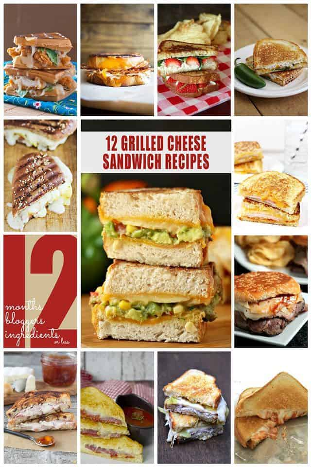 Collage photo of 12 different grilled cheese sandwich recipes
