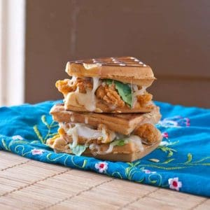 Waffle Grilled Cheese Fried Chicken Sandwich