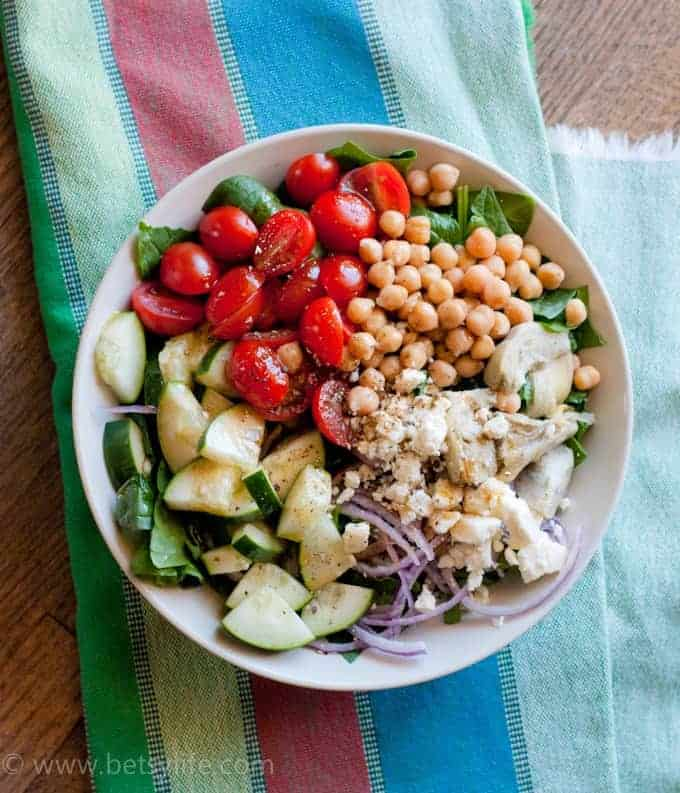Greek Salad with Garbanzo Beans cucumbers and tomatoes