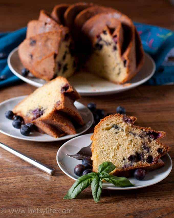 Blueberry Basil Bundt Cake