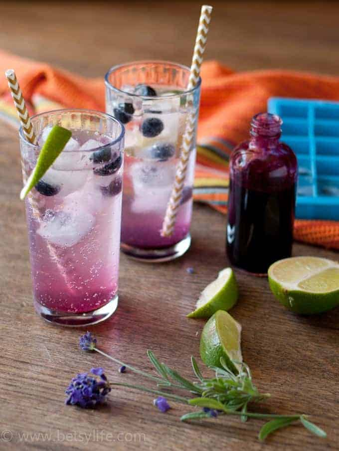 Blueberry Lavender Fizz Cocktails