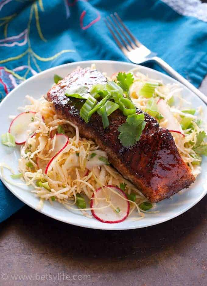 Jerk Salmon with Sweet and Spicy Slaw. Healthy recipe ready in under 30 minutes!