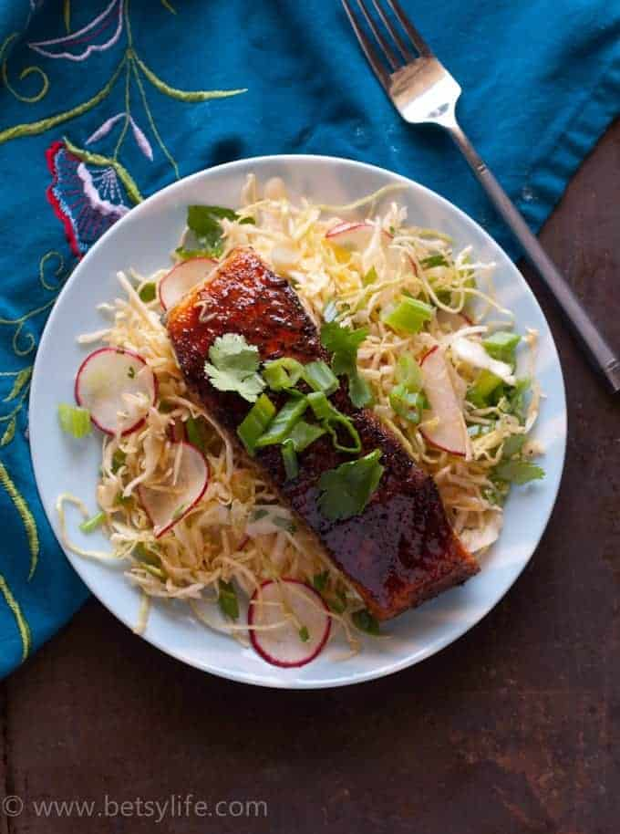 Jerk Salmon with Sweet and Spicy Slaw