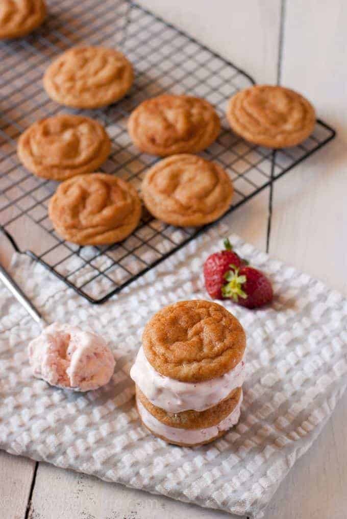 Snickerdoodle and Roasted Strawberry Ice Cream Sandwich Recipe