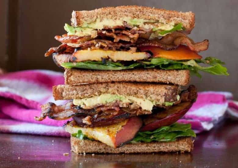 Bacon, Lettuce and Grilled Peach Sandwich