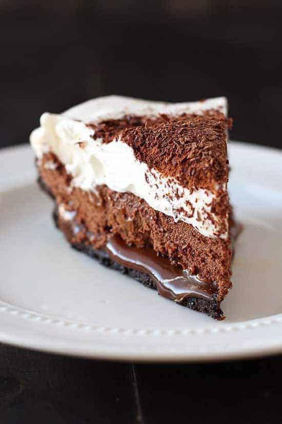 One slice chocolate caramel french silk pie