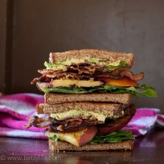 Bacon, Lettuce and Grilled Peach Sandwich made entirely on the grill! Perfect summer food!
