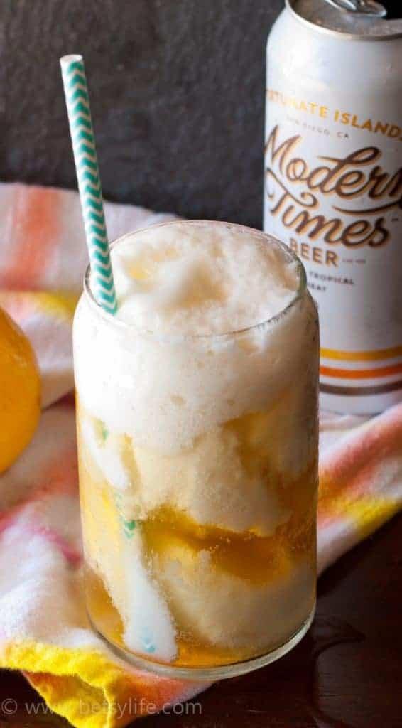 Lemon Sorbet Beer Float made with Modern Times Fortunate Islands Beer