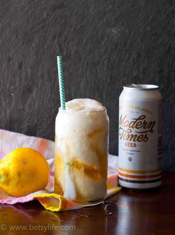 Lemon Sorbet Beer Float made with Modern Times Fortunate Islands Beer