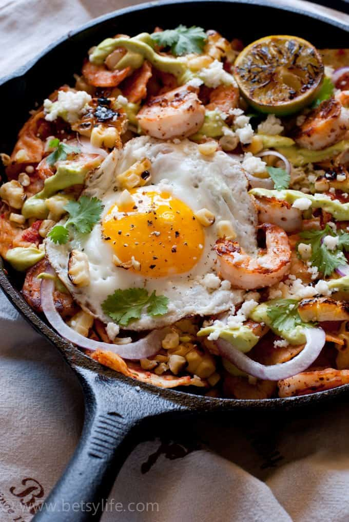 Shrimp and Grilled Corn Chilaquiles