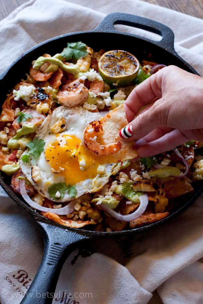 Shrimp and Grilled Corn Chilaquiles with Avocado Cream Sauce Recipe. Great for breakfast, a snack or any time of the day.