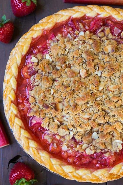 Strawberry Rhubarb Pie with Almond Crumble topping