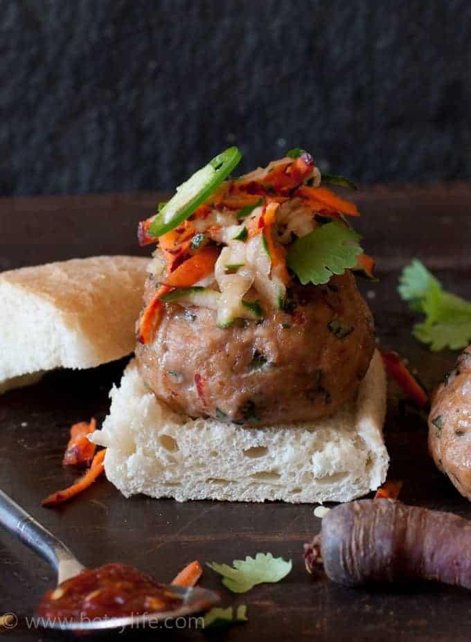Turkey Banh Mi Meatball Sliders