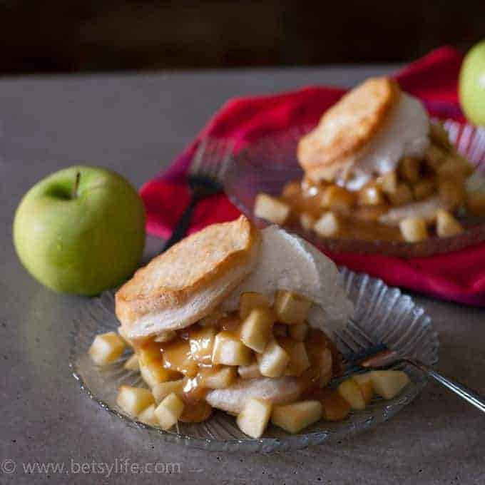 Caramel Apple Shortcake with Rum Whipped Cream