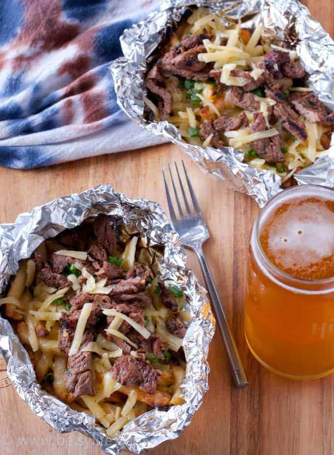 Did you know you can grill frozen french fries? Easy to customize like these cheesy carne asada fries