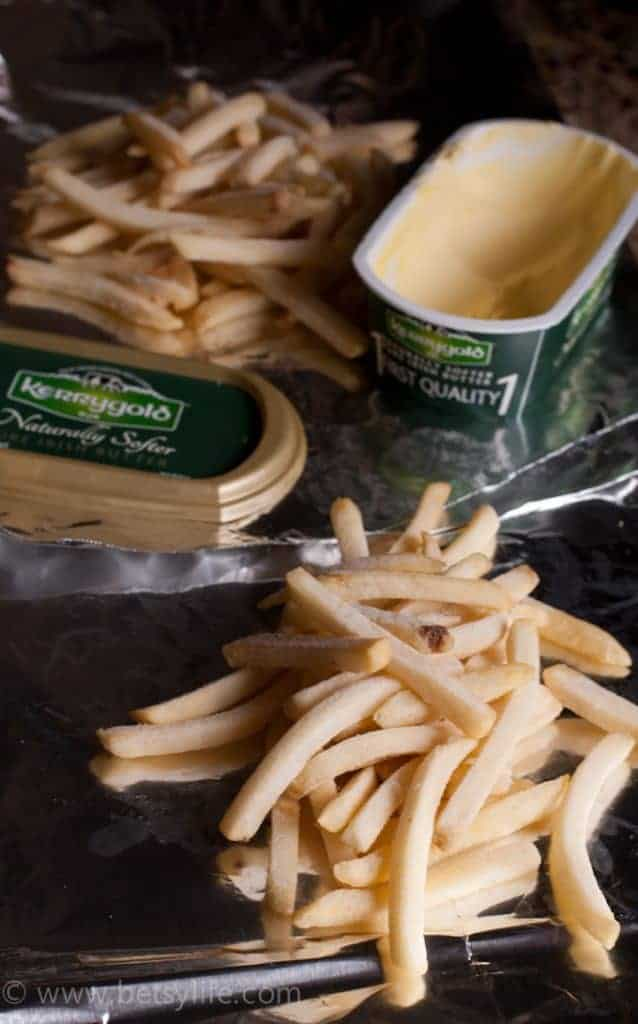 frozen french fries and butter