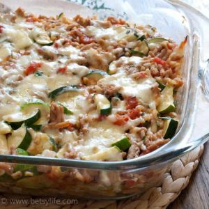 Make-Ahead Cheesy Zucchini & Turkey Casserole (gluten-free, egg-free)