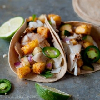 Fish Tacos with Pineapple Cucumber Salsa