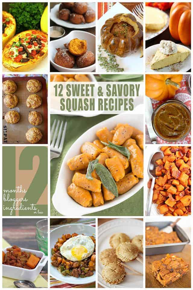 12 sweet and savory squash recipes photo collage