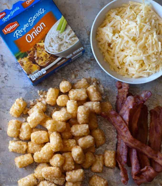 Cheesy Bacon Tater Tot Dip