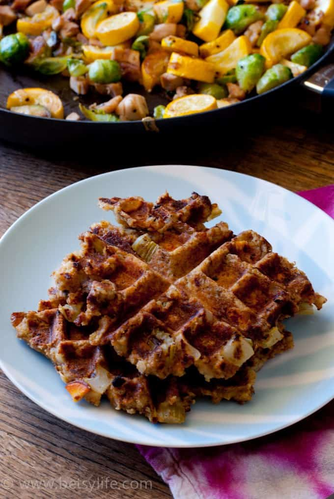 Thanksgiving leftover stuffing waffles on a plate
