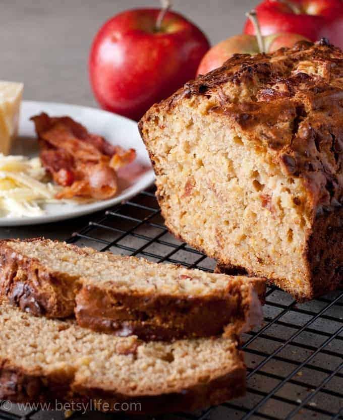 Bacon Apple Cheddar Bread Slice close up