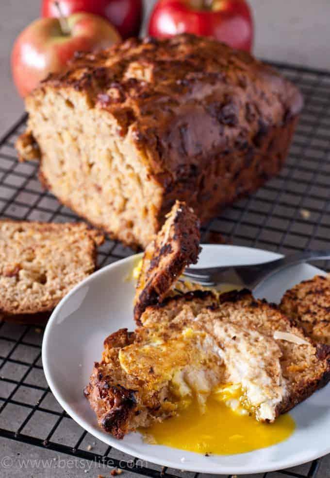 Bacon Apple Cheddar Bread egg in a hole