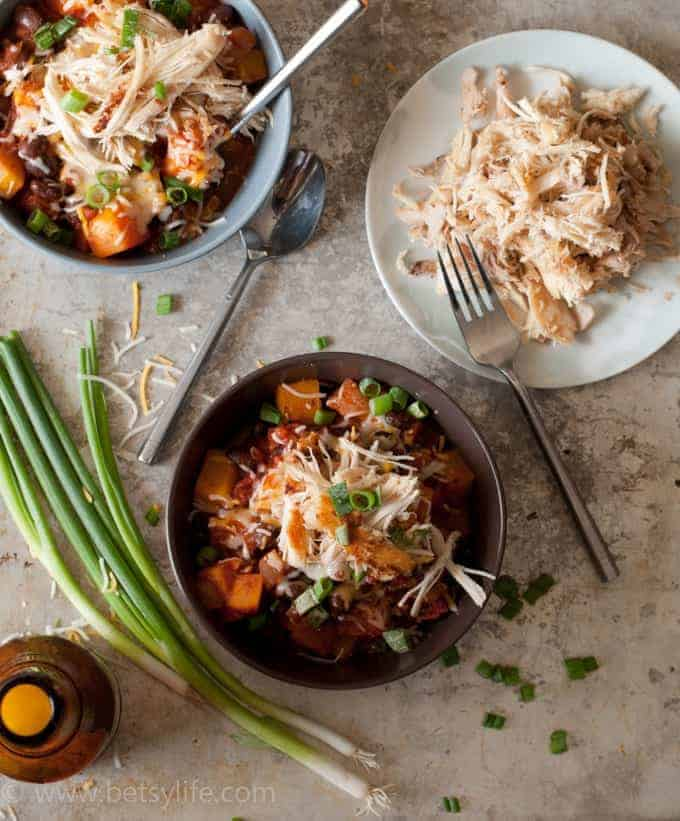 Black Bean and Butternut Squash Chili with Crispy Shredded Chicken
