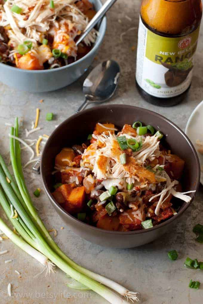 Spicy Black Bean and Squash Chili with Crispy Chicken