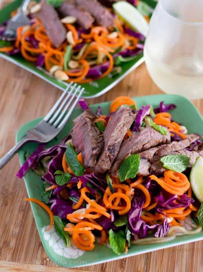 Thai Steak and Spiraled Vegetable Salad