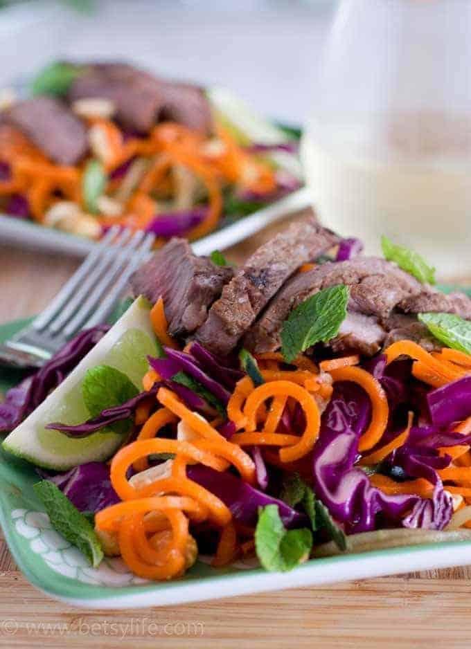 Thai Steak and Spiraled Vegetable Salad