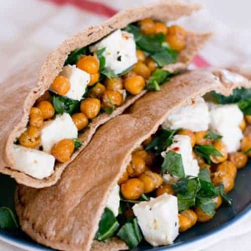Marinated Feta and Chickpea Pita Sandwich