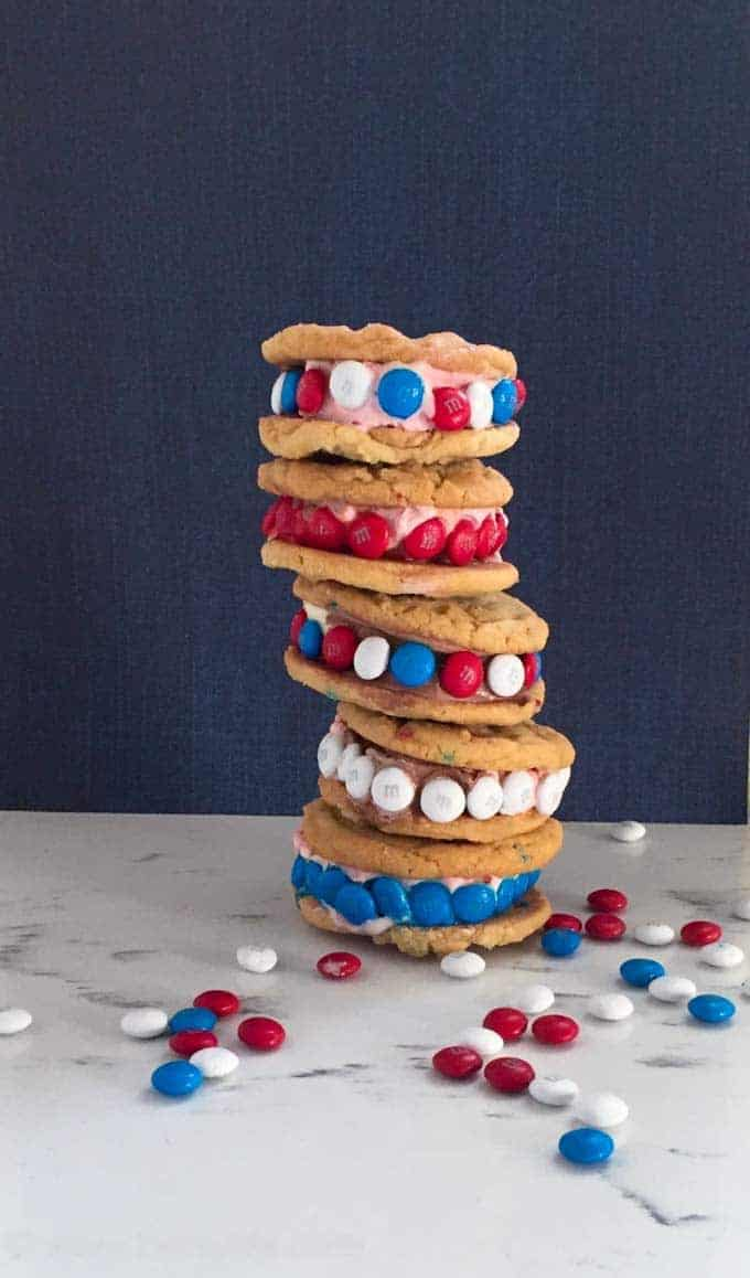 Stack of 5 Funfetti Cake Mix Cookie Ice cream sandwiches