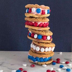 Stack of 5 Funfetti Cake Mix Cookie Ice cream sandwiches