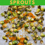buffalo brussels sprouts on a sheet pan