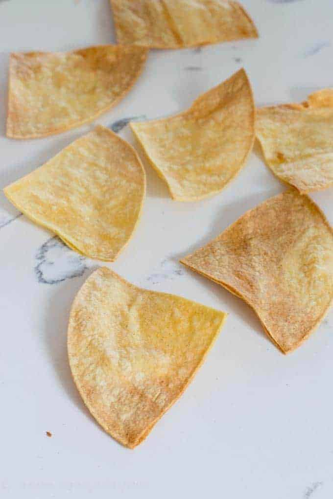 Crispy air fried tortilla chips. Made with NO OIL!