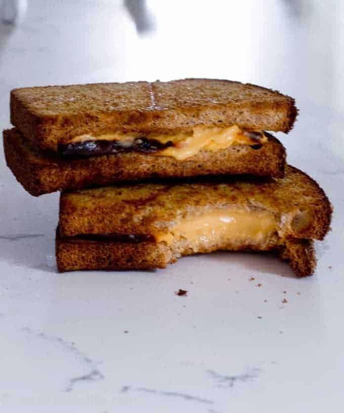 Crispy air fried grilled cheese sandwich
