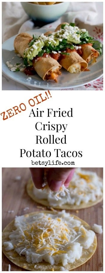 Super Crispy Air Fried Rolled Potato Tacos. Made with absolutely ZERO OIL! No mess, no smell, no potential for kitchen fires. Air frying is majorly amazing, and healthier for you!