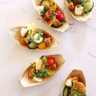 Mini panzanella salads