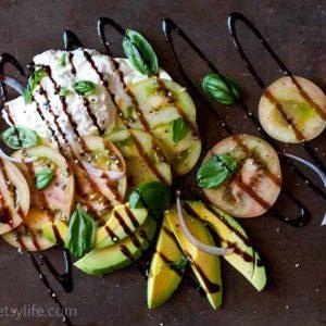 Green Tomato Caprese Salad