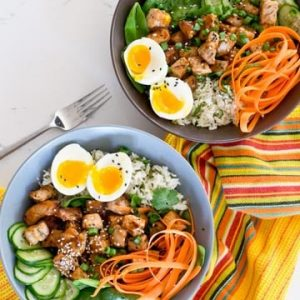 Healthy 30 Minute Meal. Pork and Rice Bowls