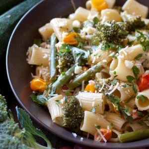 pasta and vegetables in bowl