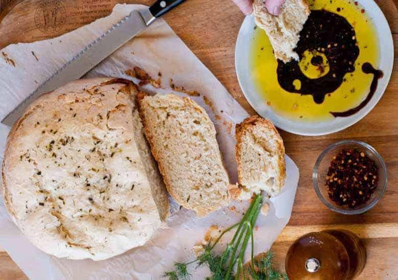 Olive Oil & Herb Crock Pot Bread