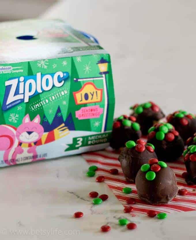 ziploc branding with chocolate covered balls